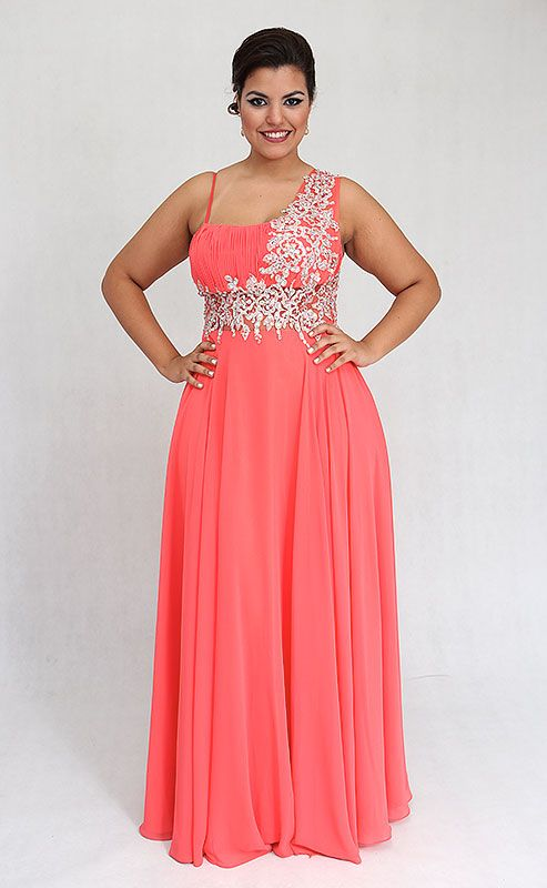 Pink thin white floral straps plus size prom dress