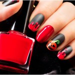 Blood drips pumpkin on black matte nail polish Halloween nails