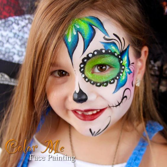 Colorful Sugar Skull Face Paint | www.imgkid.com - The ...