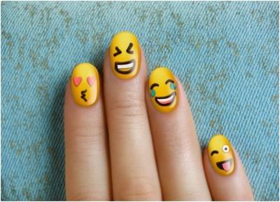 Cute funny emoji nail art