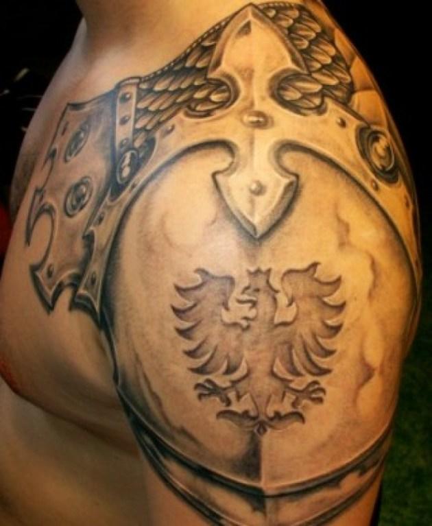 Dragon Shoulder Armor Tattoo For Men