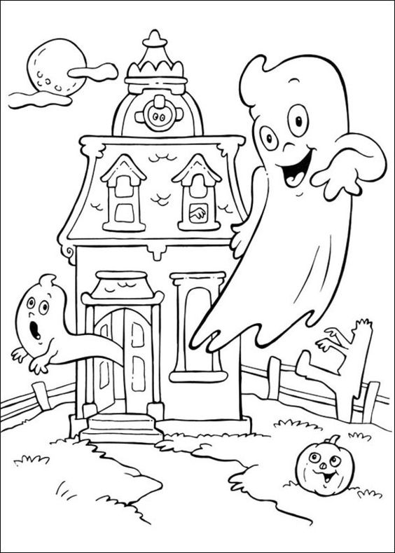 Ghost coloring pages for Halloween