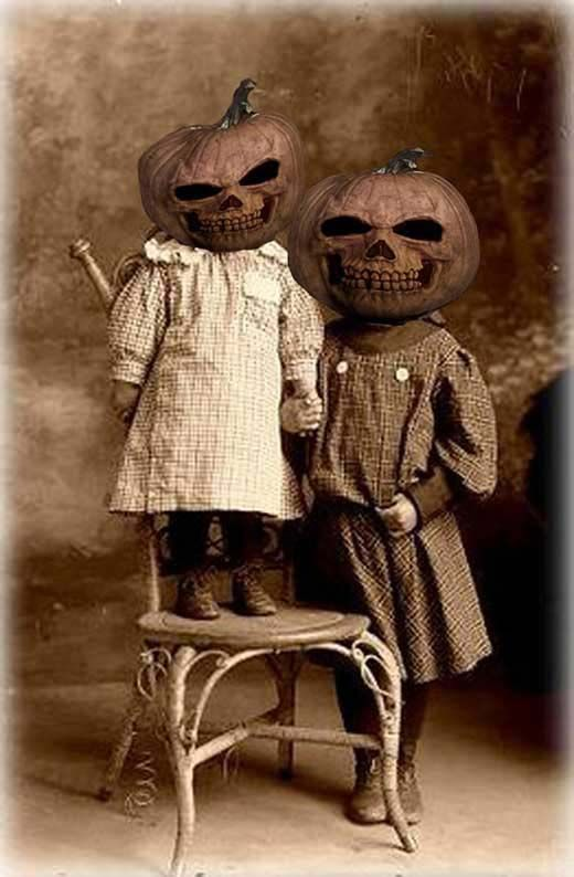 Vintage Halloween photo for postcard