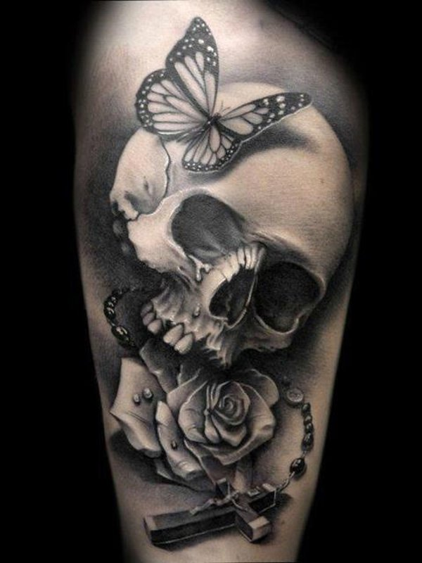 Black And Grey Skull Butterfly Rose Cross Tattoo Design