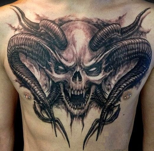 ghost skull chest tattoo design