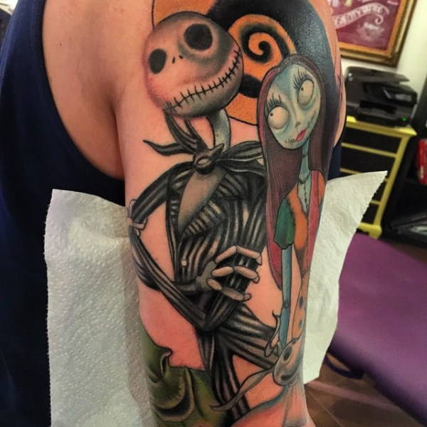 nightmare before christmas jack and sally full sleeve tattoo