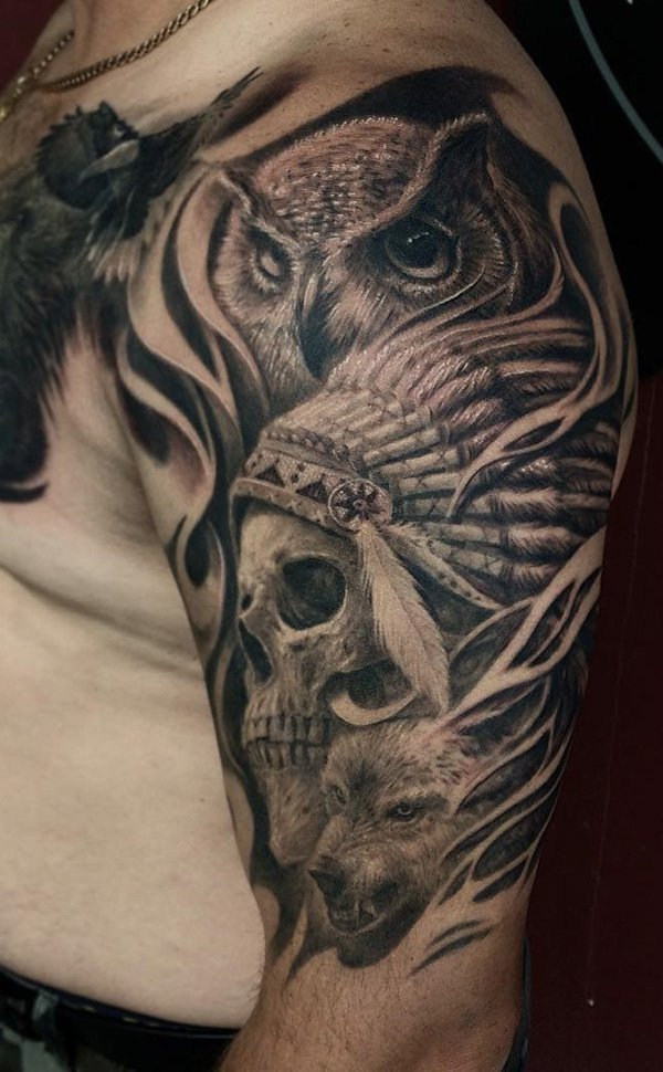 owl-wolf and indian skull tattoo