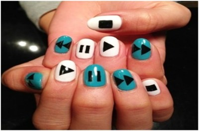 Play Buttons nail art