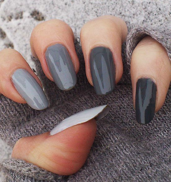 Shades of Grey Winter Nails