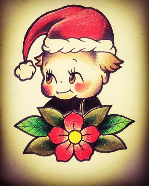 baby Santa Christmas Tattoo Design