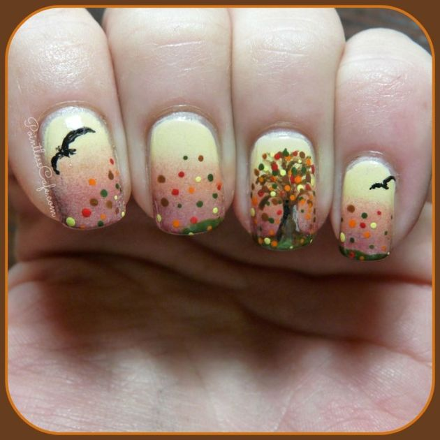 fall autumn nail art