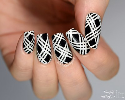 striped cross-hatched nail designs