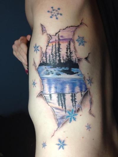3d unusual winter scene tattoo