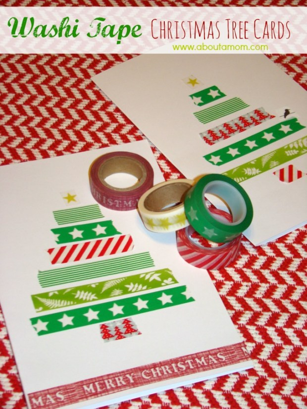 diy christmas cards 2017-18 with washi tape