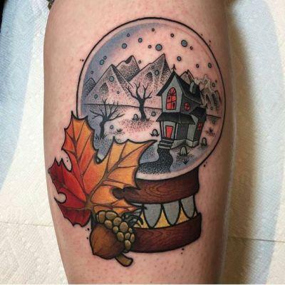 fall neo traditional globle tattoo