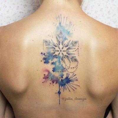 snowflake tattoo watercolor ink