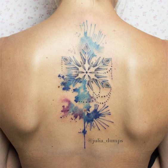 snowflake tattoo watercolor ink