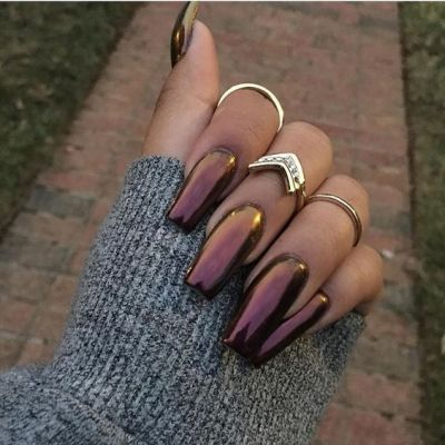 Plum Holographic nails