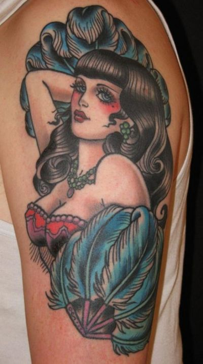 traditional pin up girl tattoo