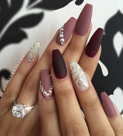 Rhinestone Coffin Nails