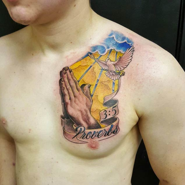 Praying Hands Tattoo On Chest Entertainmentmesh