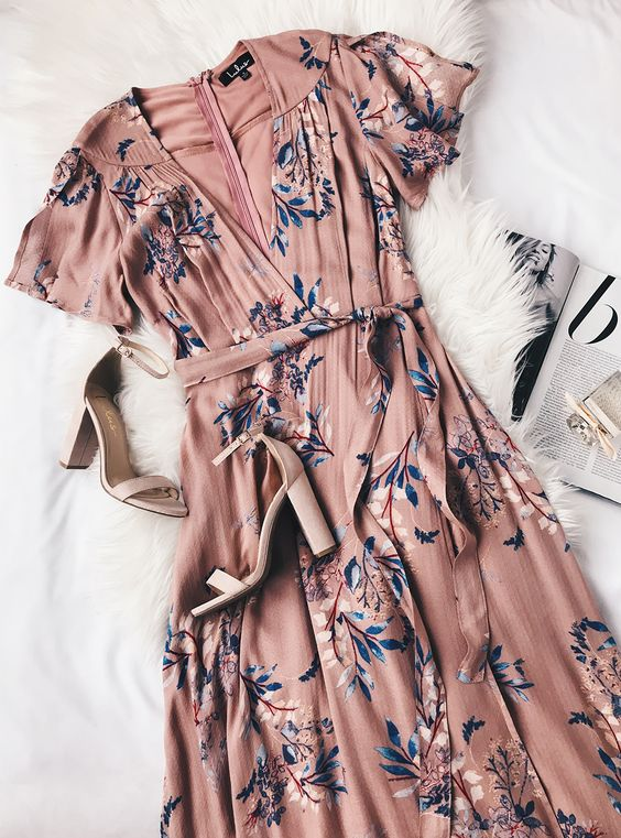 Casual Floral Printed Wrap Dress
