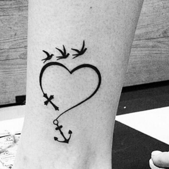 free spirit heart anchor and birds tattoo | EntertainmentMesh