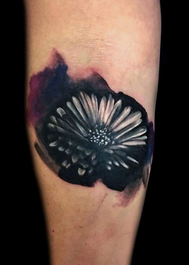 Black Watercolor Aster Flower Tattoo