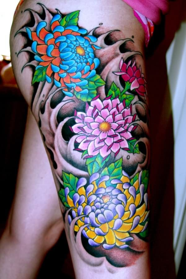 Colorful Flower Tattoo on full Thigh