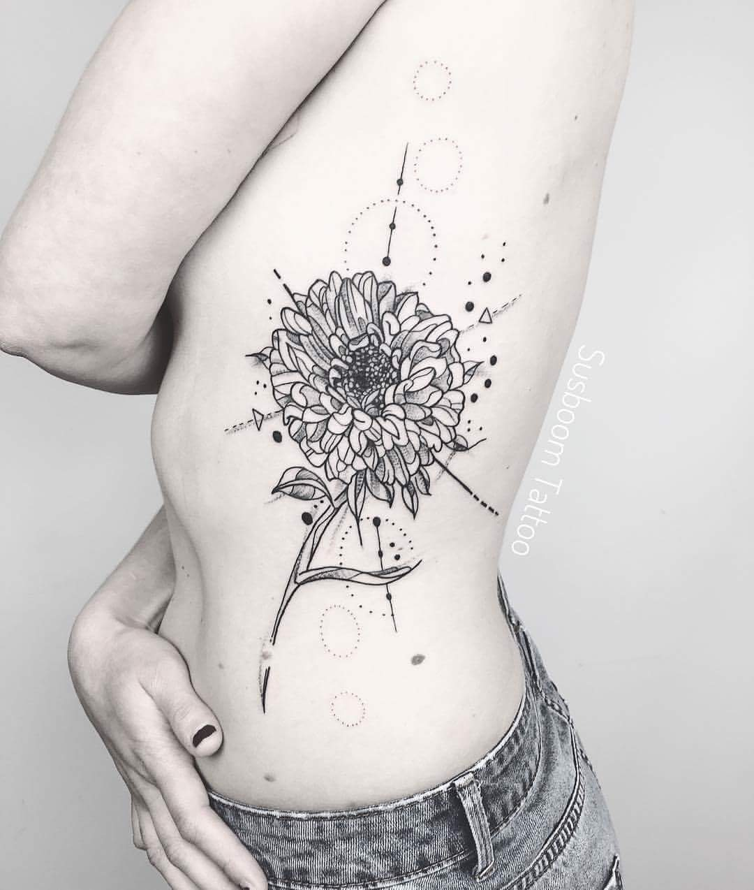 ff6b66d20 Geometrical Aster Flower Tattoo With Minimal Ink
