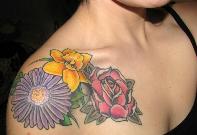 birth flowers, Aster, Rose and daffodil tattoo on shoulder