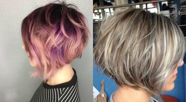 messy stacked bob hairstyles