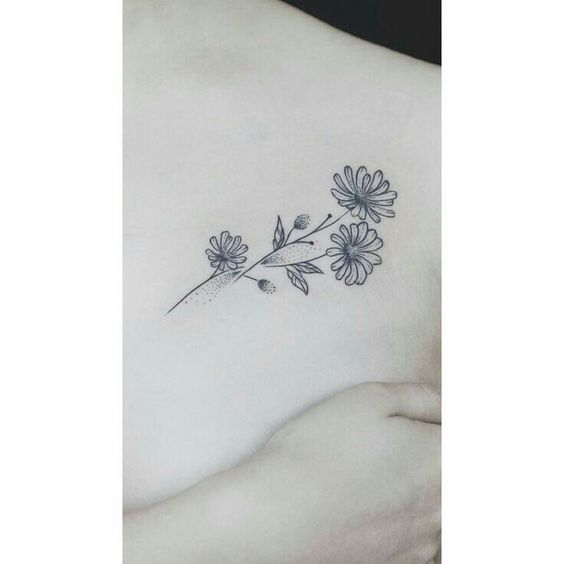 small aster flowers tattoo designs on chest