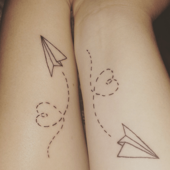 cute paper planes tattoo for bff