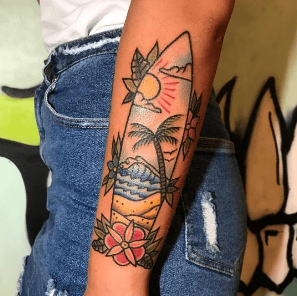 surfboard-beach-tattoo-illustration-on-arm