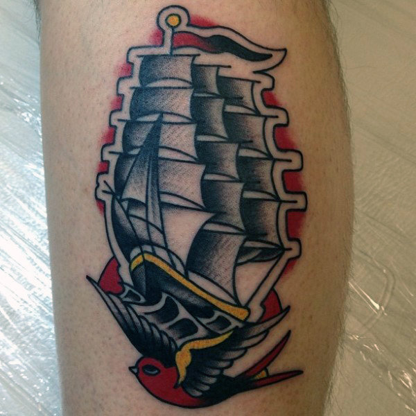 traditional pirate ships tattoo designs