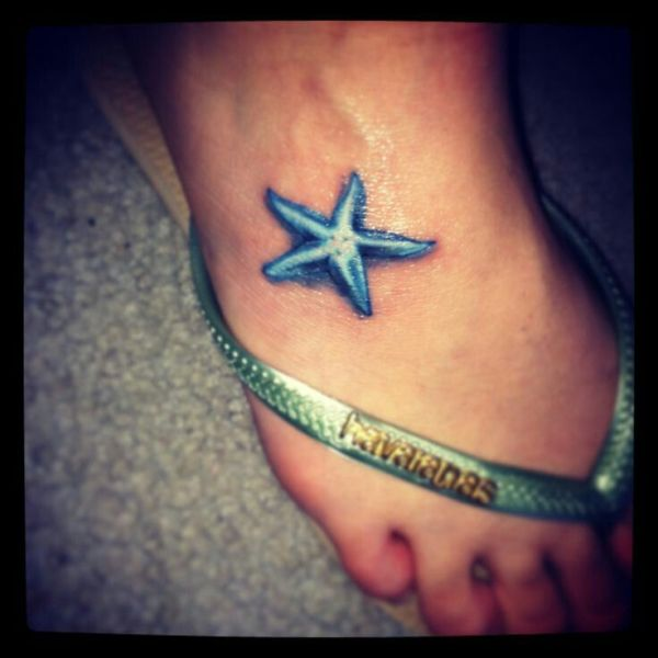 cute 3d star fish tattoo on feet