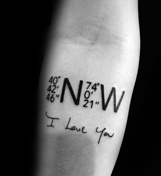 i love you with coordinates tattoo on forearm