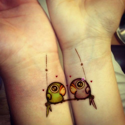 matching cute lovebirds tattoo on wrists for couples