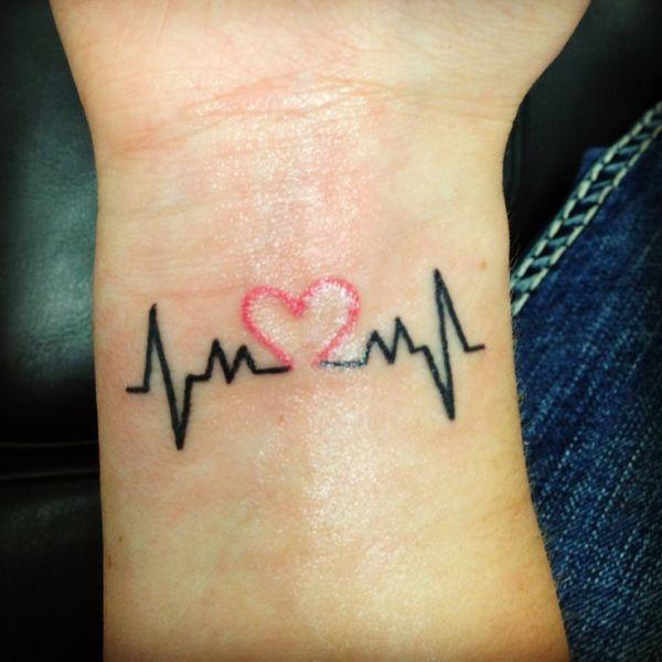 small heartbeat with cute heart tattoo on wrist