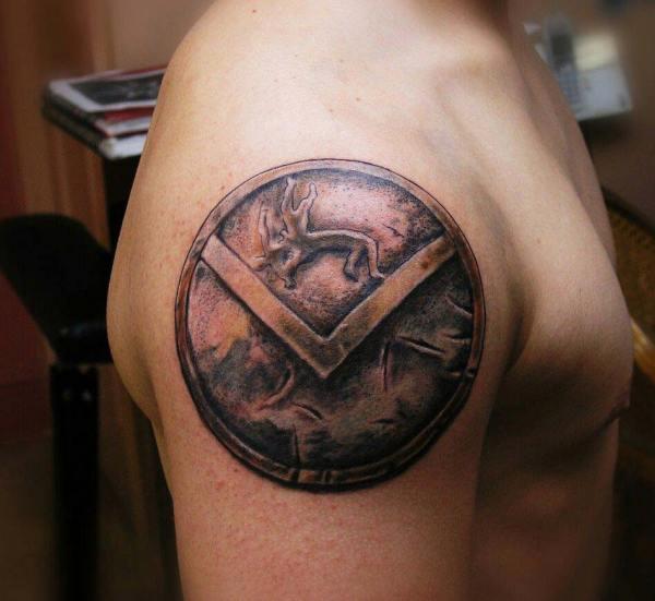 greek spartan shield tattoo