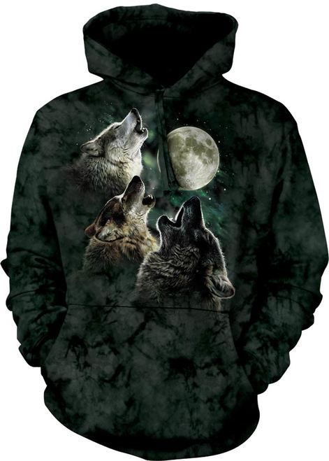 three howling wolves hoodie for halloween