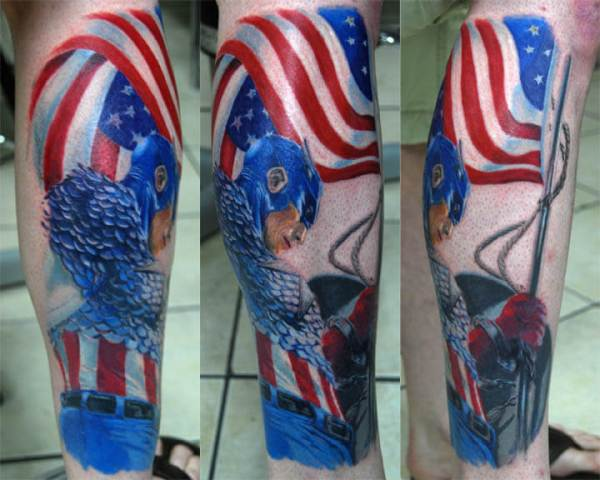 captain america chained hand with flag tattoo