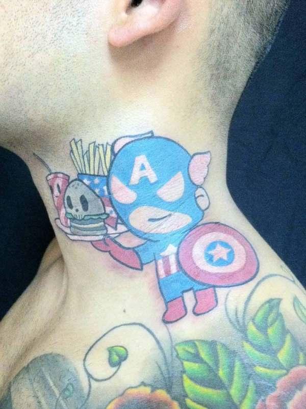 cool comic hero captain america kid animated tattoo on neck
