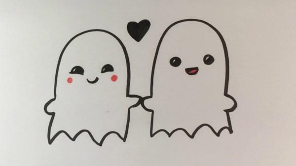diy cute halloween love ghosts paper drawing