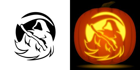 free grim reaper pumpkin stencil for carving halloween decorations