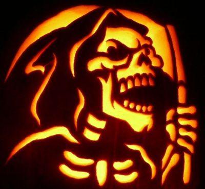grim reaper carved pumpkin design for halloween