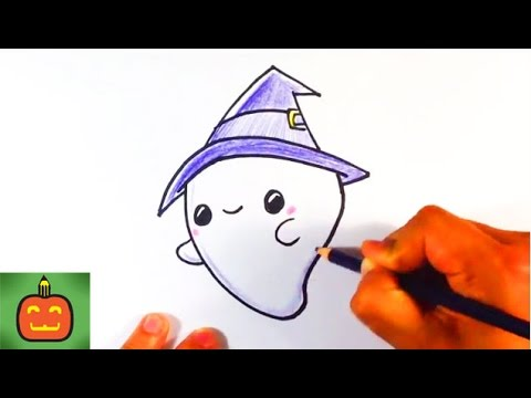 how to draw so cute halloween ghost with hat