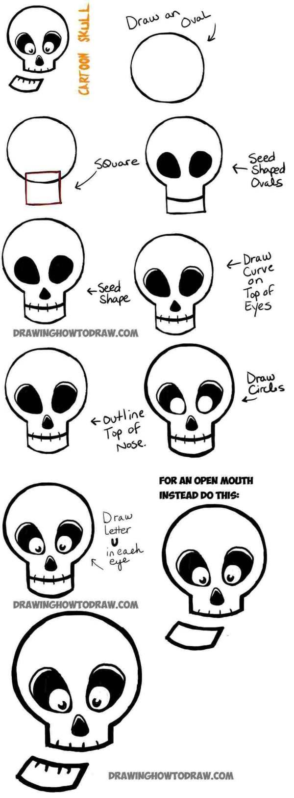 skull drawing ideas for halloween