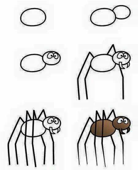 spider drawing ideas for halloween